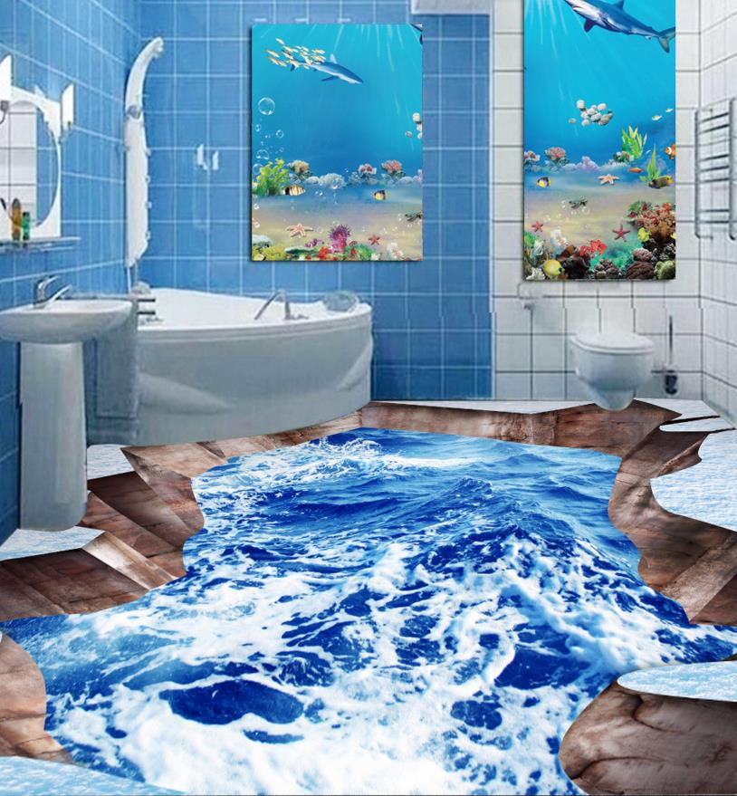 ФОТО 3D floor snow ocean customize wathroom 3d floor stickers self-adhesive waterproof plastic flooring