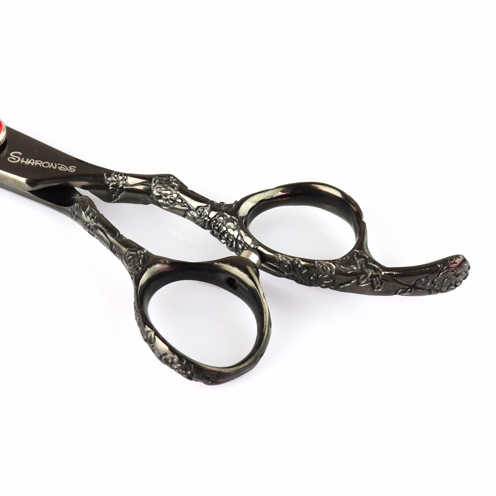 Купить с кэшбэком 6 inch barber hair dresser professional makas scissors ruby bright black salon tool stylist haircut cutting thinning shears