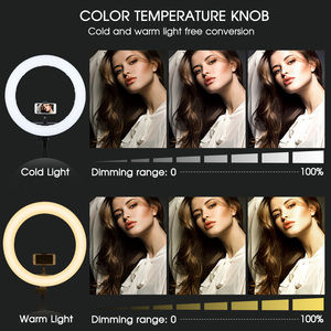 Image 5 - Travor Led Ring Licht 18 Inch Ring Lamp Foto Light Ring Met Statief Telefoon Houder Voor Youtube Make Studio Fotografie ringligt