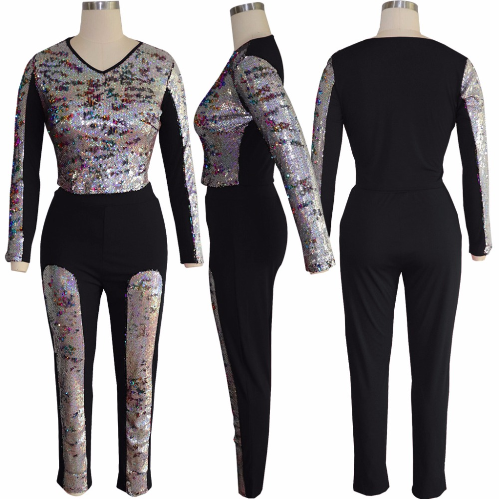 Two Piece Sweat Suit Women Clothes Sequined Patchwork Long Sleeve Crop Top+Long Pant Casual Tracksuit Club Outfits Matching Set Pants & Capris Women Bottom ! Plus Size Women's Clothing & Accessories