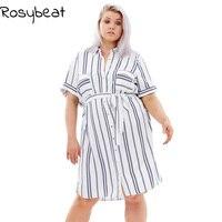 2017 Summer Dress 4xl 6xl Plus Size Women Casual Dress Short Sleeve Vertical Stripe Loose Dress