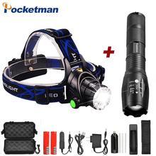 Lampe frontale LED Super puissante T6/L2/V6, éclairage Zoom lampe de poche LED, avec batterie AAA 18650, étanche, éclairage de bicyclette