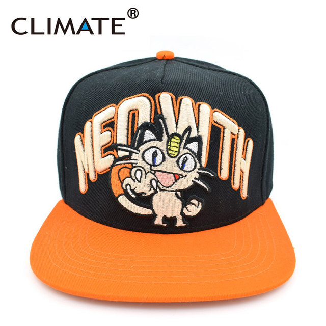 Hombres mujeres jóvenes adolescente climate go juego pocket monster pokemon meowth gato pikachu charizard bulbasaur único snapback caps sombrero