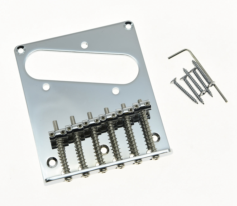 KAISH <font><b>Tele</b></font> Style Single Coil <font><b>Guitar</b></font> Bridge with 6 Barrel <font><b>Saddles</b></font> for <font><b>Telecaster</b></font> Chrome image