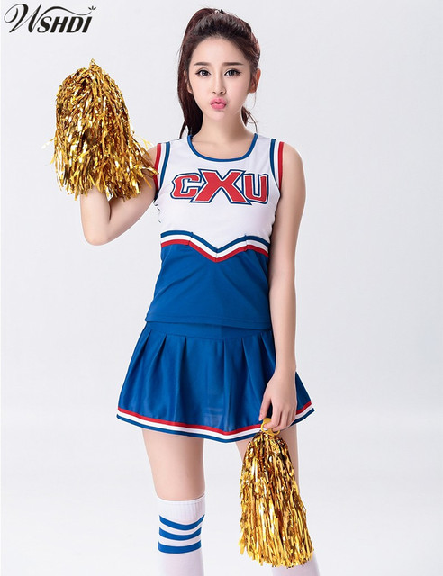 Hot Sale Red Blue Sexy High School Cheerleader Costume Cheer Girls Uniform  Party Cheerleading Outfit Tops with Skirt c793a0771