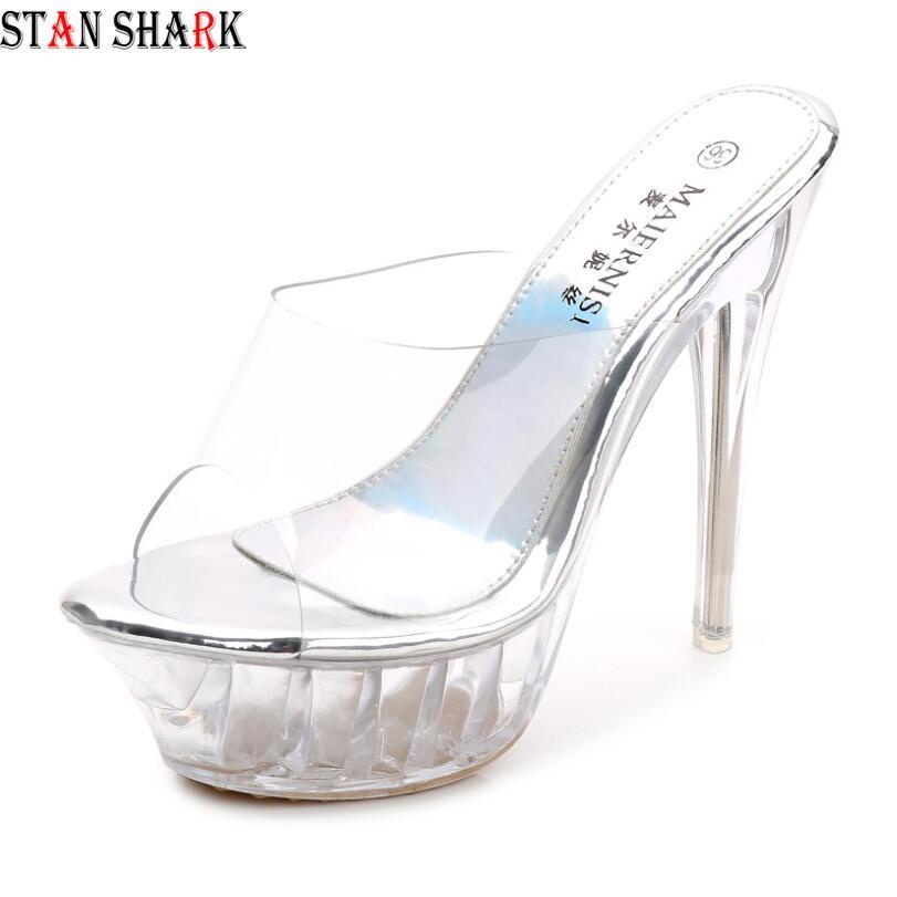Luxury Shoes Women Designers Platform Sexy Slingback Mules Clear Pvc Sandals For Women High Heel Slipper Sandals Bridal Shoes