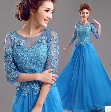 Перспективное сексуальное синее кружевное платье с длинными рукавами vestido mae da noiva платье для матери невесты платье на свадьбу