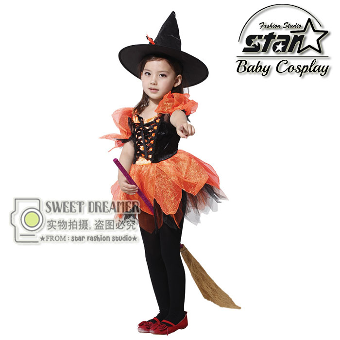Girls Halloween Costumes Black Witch Dress & Hat Set Spirit Cosplay Stage Wear Clothing Kids Masquerade Party Fancy Mini Dress бордюр valentino charme matita viola 2x50