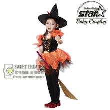 Girls Halloween Costumes Black Witch Dress Hat Set Spirit Cosplay Stage Wear Clothing Kids Masquerade Party