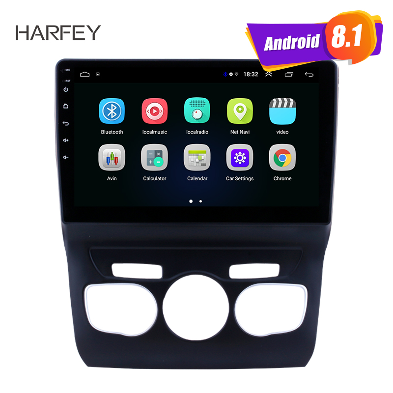 Harfey 10.1 car multimedia player Android 8.1 GPS Navigation Bluetooth Radio for 2013 2016 Citroen C4 SWC Support Backup camera