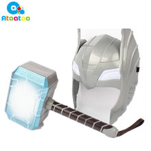 Child Cosplay The Avengers 2 Thor LED light luminous sounding Helmet Weapon hammer quake model toy gifts(China)