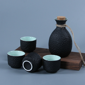 Boutique Art Japanese Sake Set Flagon Stoup Wine Pot 4pcs Cups Ceramic Snowflake Glaze Honeycomb Design Saka Decanter Home Bar(China)