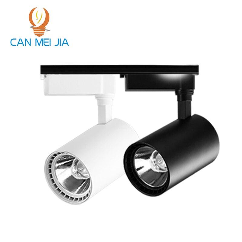 12W 20W 30W COB Track lights Adjustable Rail Track led rail lamp 220v black/white Spotli ...