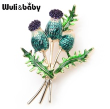Wuli&baby Orange Blue Tulip Bouquet Flowers Enamel Brooches Metal  Weddings Banquet Brooch Pins For Women And Men Christmas Gift