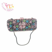 Women Evening Wallet Women Luxury Brand Floral Design Evening Clutch Handbags Handmade With High Grade Crystals