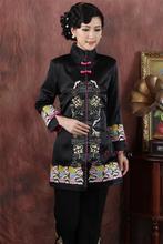 Chino tradicional clothing boutique de alta calidad de las mujeres de seda bordado tops tamaño m-4xl