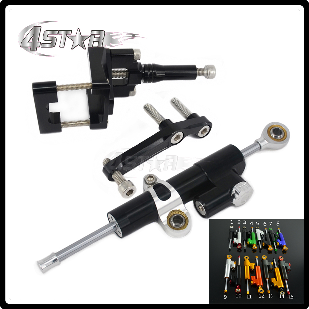 Motorcycle Steering Damper Stabilizer & Bracket For KAWASAKI NINJA300 NINJA 300 EX300 2013 2014 2015 2016 13 14 15 16 cnc steering damper set stabilizer with bracket mounting assemblly for kawasaki ninja300 ninja 300 ex300 13 14 15 16 2013 2016