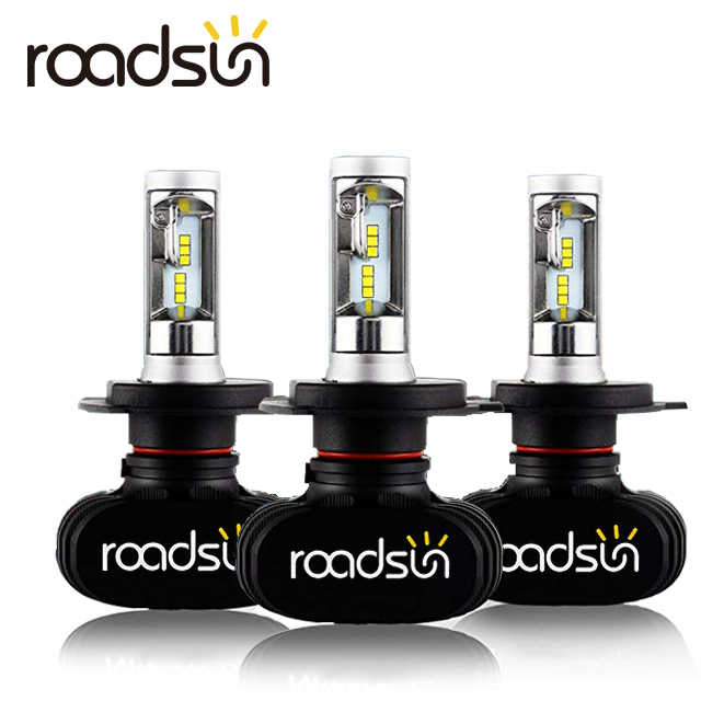 Roadsun 2 Pcs Car Headlight S1 H7 LED H4 H1 H3 H8 H11 H27 880 9004 9005 9006 9007 50W 8000LM Auto Headlamp 6500K Light Bulb