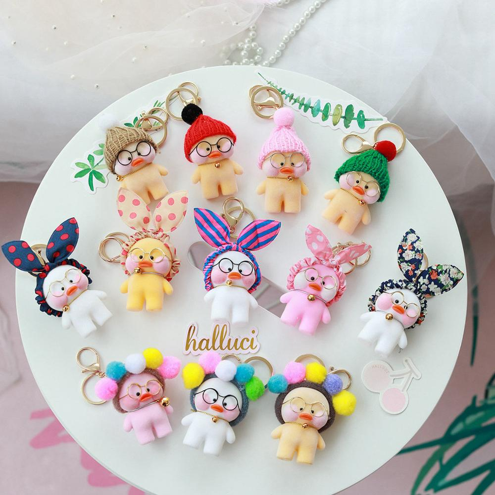 Kawaii LaLafanfan Cafe Duck Pendant Keychain Cartoon Cute Duck Car Decor Animal Dolls Girl Toys Birthday Gift For Children
