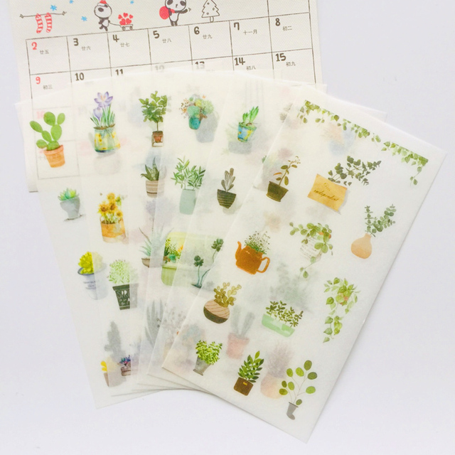 6 Sheets /Pack Fresh Cactus Green Pots Washi Paper Adhesive Decorative Label Stickers Stick Decoration Stickers