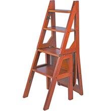 Многофункциональная складная лестница из цельного дерева для дома, стул для помещения, передвижная лестница для скалолазания, четырехступенчатая лестница