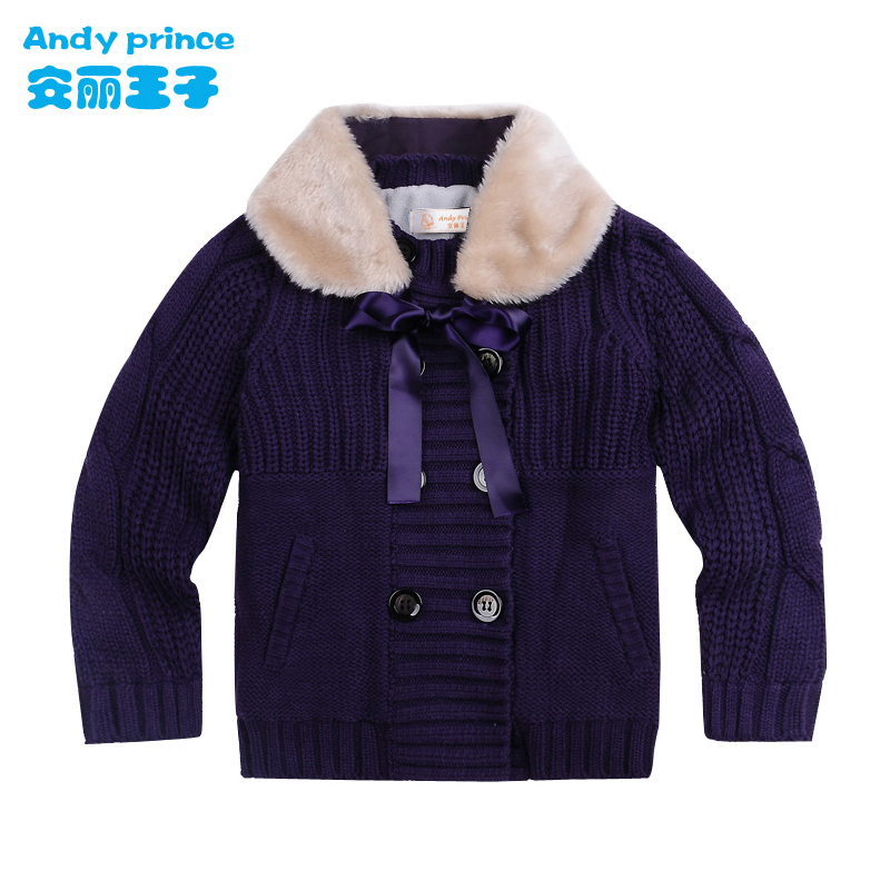 цена на 2016 Autumn and Winter Thickening Sweater Double Breasted Lacing Gril Princess Needle Coat Jacket Sweater Outwear for Girls