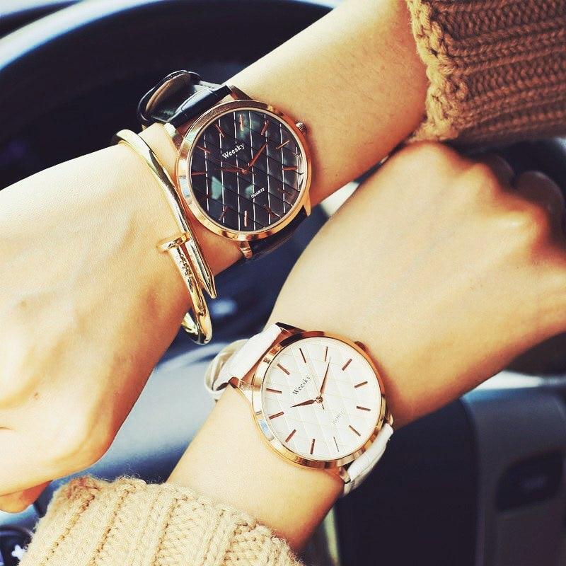 100% New High Quality Leather Rose Gold Quartz Bracelet Women Ladies Wrist Watch Wristwatches Black Brown White
