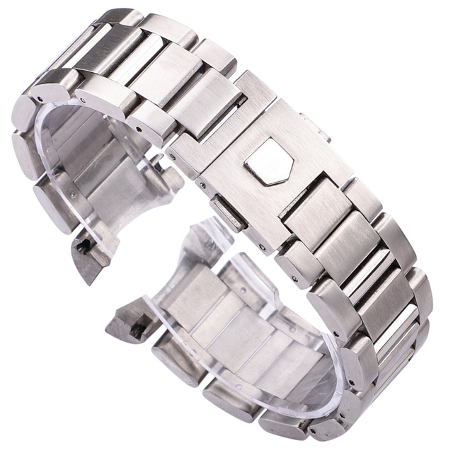 22mm Watch Band Bracelet Silver Balck Solid Stainless Steel Luxury Curved End Wa