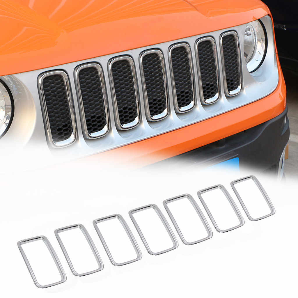 7PCS Lada Vesta Silver ABS Front Grille Trim Ring Insert Cover for Jeep Renegade 2015-2019 renault duster outlander qashqai