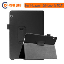 Two Fold Tablets Case For Huawei T5 Honor 5 10.1 Inch Tablet PU Smart Sleep Wake Up Cover For AGS2-W09 Huawei MediaPad T5 Cases