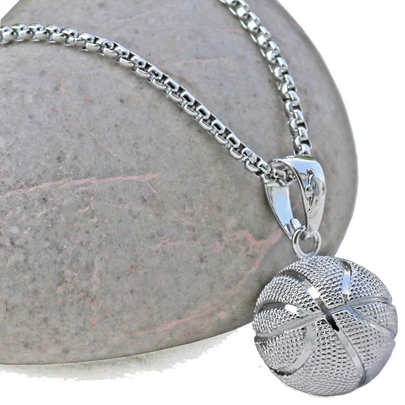 3D Basketball Halsketten Silber Farbe Anhänger Sport Hip Hop Schmuck - Modeschmuck - Foto 4