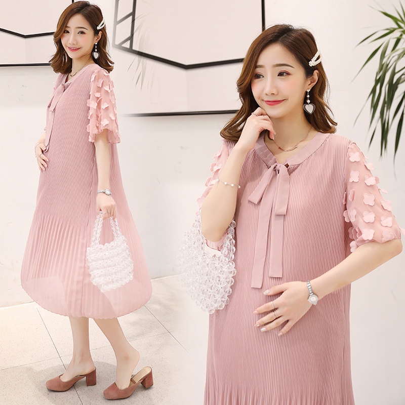 Summer Pink Maternity Dresses For Pregnant Women Clothes Pleated Chiffon Pregnancy Dress Gravidas Vestidos Maternity Clothing