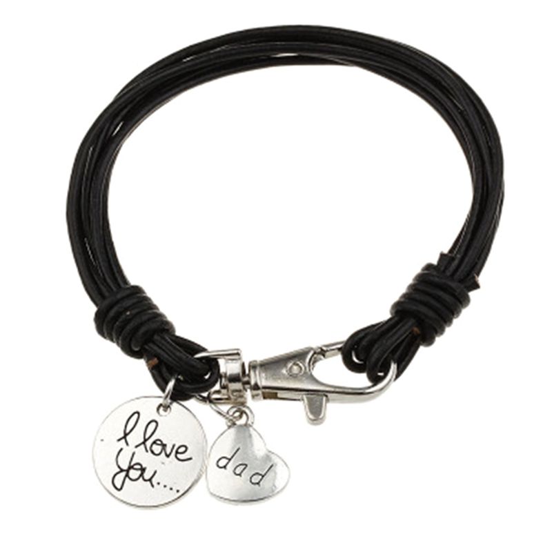 Heart Charm Bracelet Carved Dad Love Message Fit Fathers Day Love Gifts Leather Bracelets Jewlery For Father 1PC