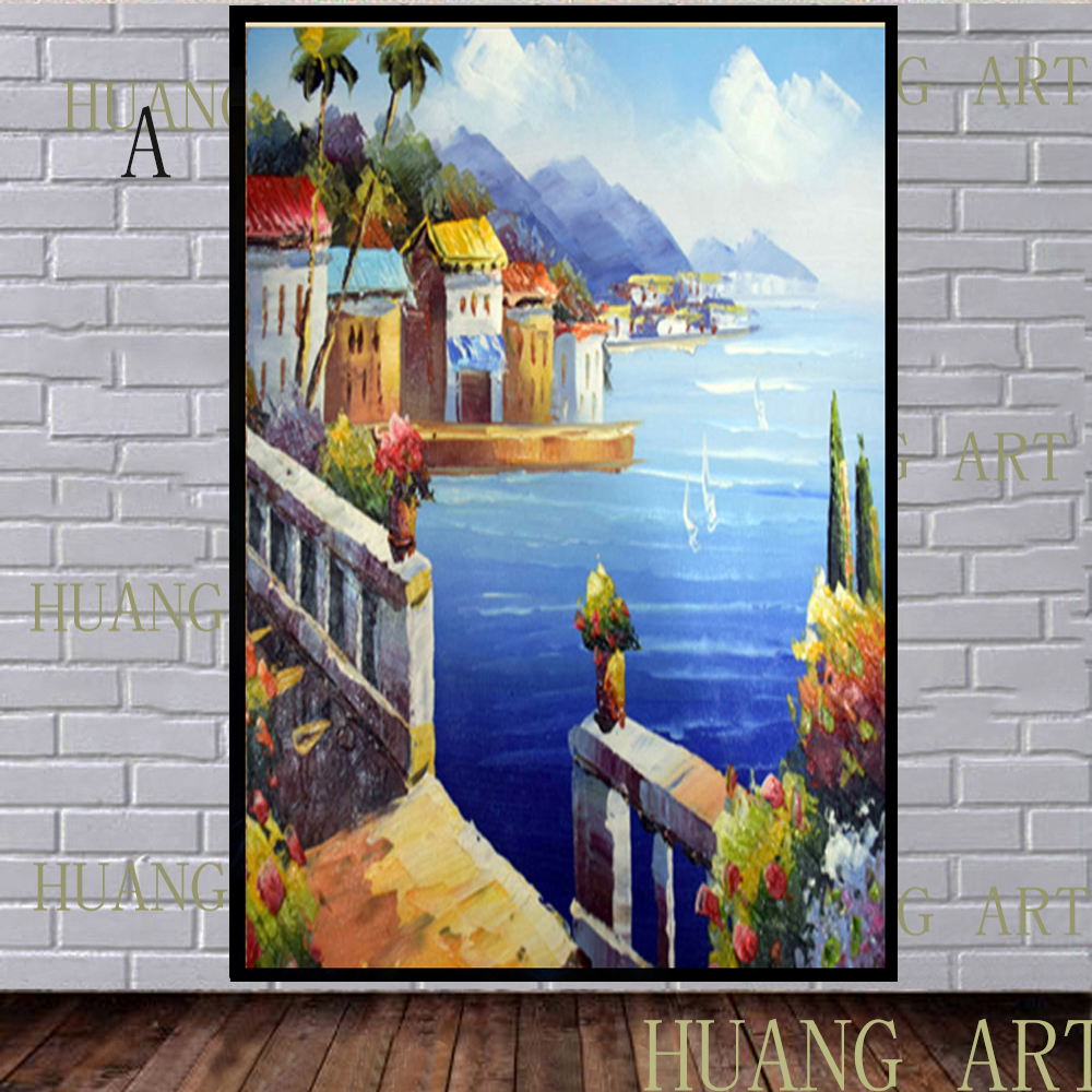 Sofa House Greece Us 40 04 48 Off Hand Painted Modern Mediterranean Greece Landscape Painting Home Decoration Hotels Knife Painting Thick Oil Selling Sofa In