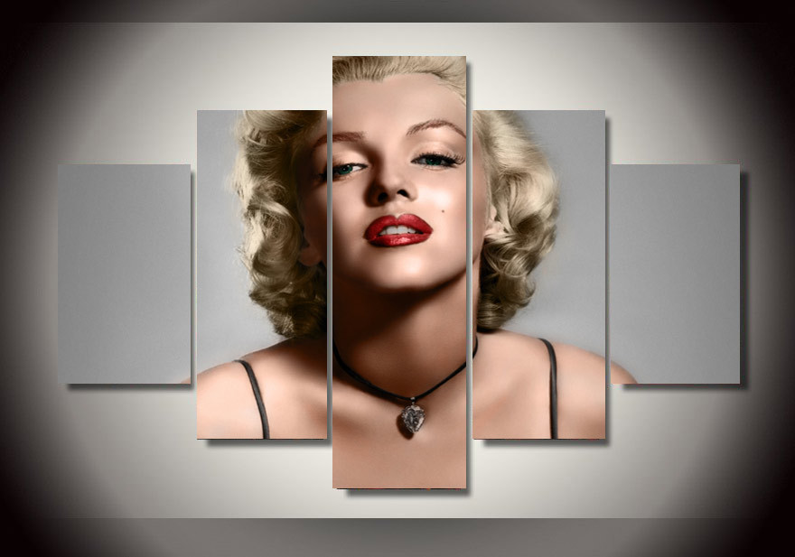 5 pieces canvas marilyn monroe painting on canvas wall art picture f1336china