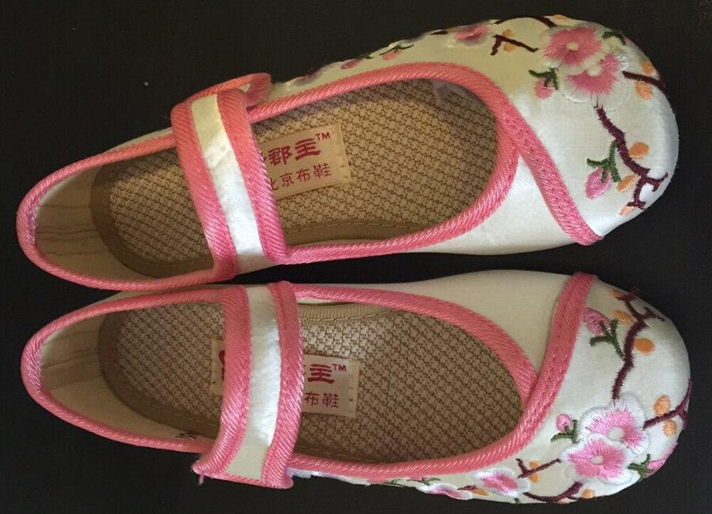 duże dziewczęce buty mary jane mały kwiat haft biały zielony - Obuwie dziecięce - Zdjęcie 2
