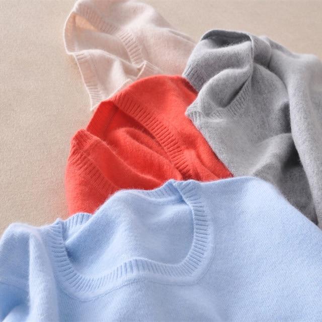 חייט כבשים 2019 קשמיר צמר סוודר נשים מוצק צבע סוודר o-צוואר סוודר נשי ארוך שרוול סרוג מגשרים