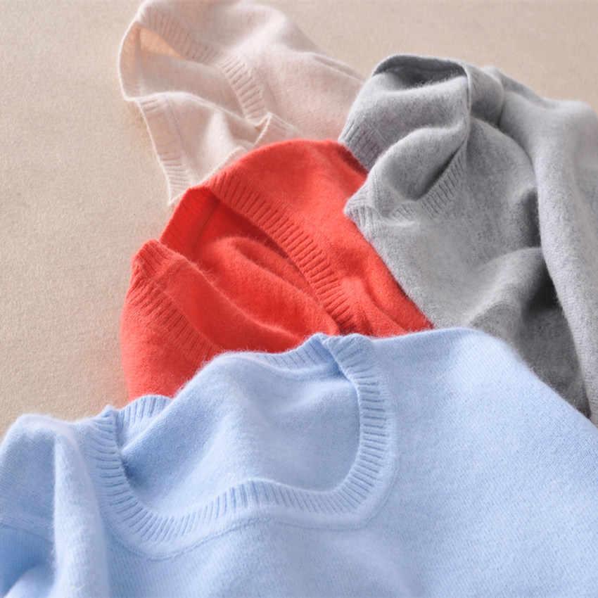TAILOR SHEEP 2019 suéter de lana de Cachemira mujeres color sólido Pullover cuello redondo suéter femenino de manga larga de punto jerseys