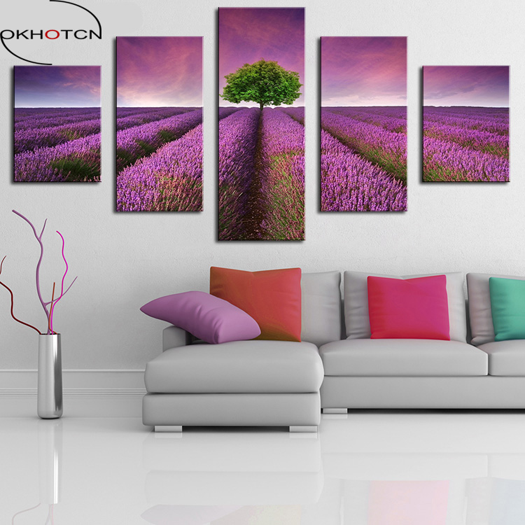 OKHOTCN 5 Panel Lavender Field Modern Home Wall Decor Canvas Picture Art Print WALL Painting Set of 5 Each Canvas Arts Framework