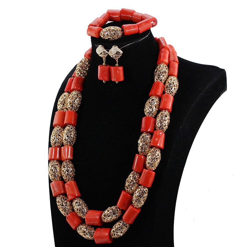 HTB1b31KaAfb uJkHFNRq6A3vpXaQ 26inches Double Layeres Original Coral Nigerian Wedding Beads Jewelry Set Women Coral Costume Necklace Set CNR892