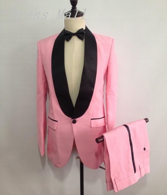 Venta caliente Nuevo Diseño de Color Rosa Hombre Trajes Trajes de Boda Para Hombre del Mantón de la Solapa de Un Solo Botón Tuxedos Padrinos de boda