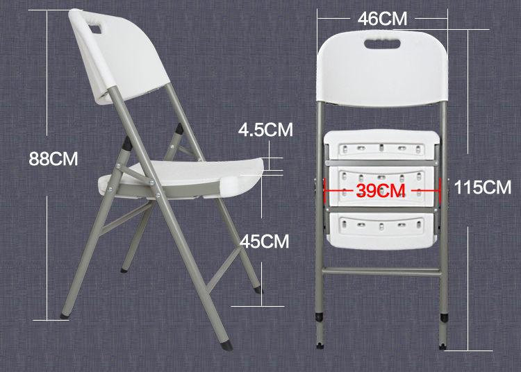45*39CM High Quality Eco Friendly HDPE Portable Folding Office Chair  Outdoor Beach Chairs