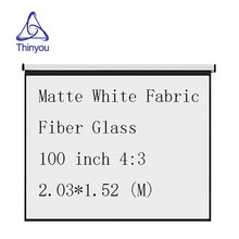Thinyou projector screen100 inch 4:3 Pull-Down Curtain hand pull Matte White Fabric Fiber Glass Curtain for Wall Mounted Home