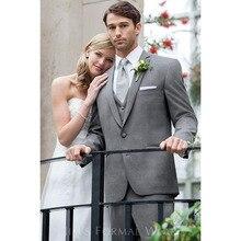 2017 Slim fit grey Men Suits Tuxedo Wedding gray Groom mens Suit Custom Made Best smoking terno masculino (Jacket+Pants+Vest)