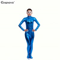 Ensnovo Women Spandex Lycra Shiny Metallic Second Skin Tight Zentai Suit Jumpsuit Full Body Suit Turtleneck