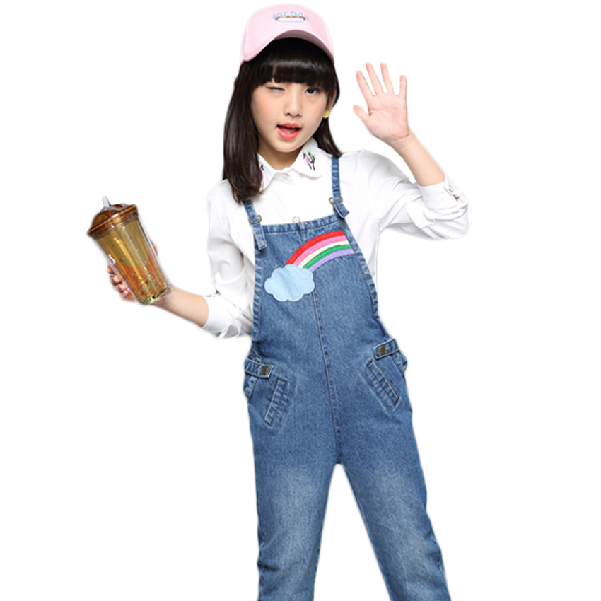 ccba78250a4 Jeans Overalls for Girls Rainbow Denim Pants for Baby Jumpsuit Child Denim  Trousers Girls Overalls 6 8 10 12 Years Kids Overalls