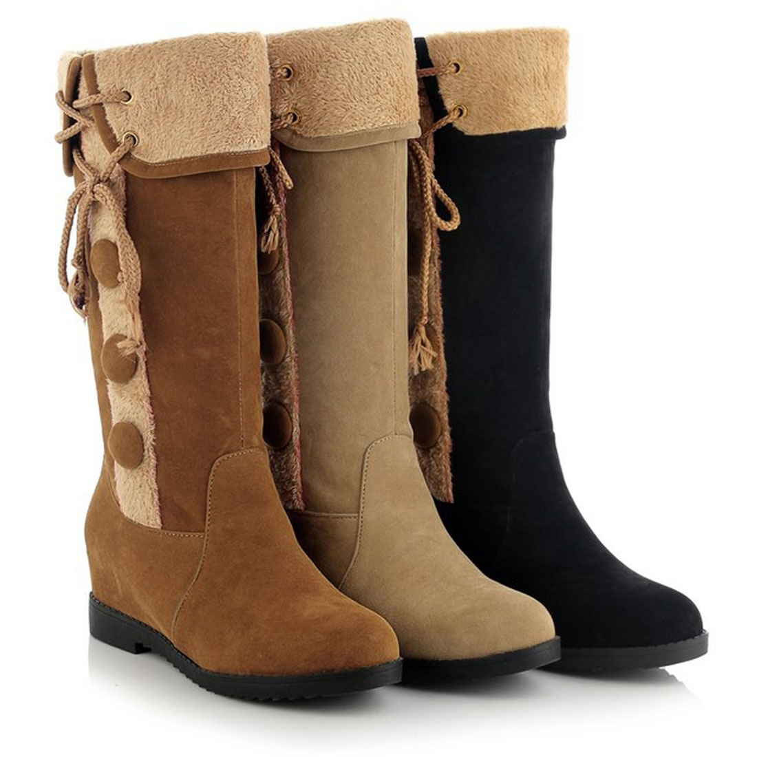 Classic Women Snow Boots Winter Knee High Boots Wedge Round Toe Faux Suede Fashion  fur female warm boots Women's Winter Shoes doratasia big size 34 43 women half knee high boots vintage flat heels warm winter fur shoes round toe platform snow boots