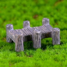 Vintage Wooden Bridge Potted Decoration Micro Landscape Resin Crafts DIY Landscaping Household Supplies Home Decor