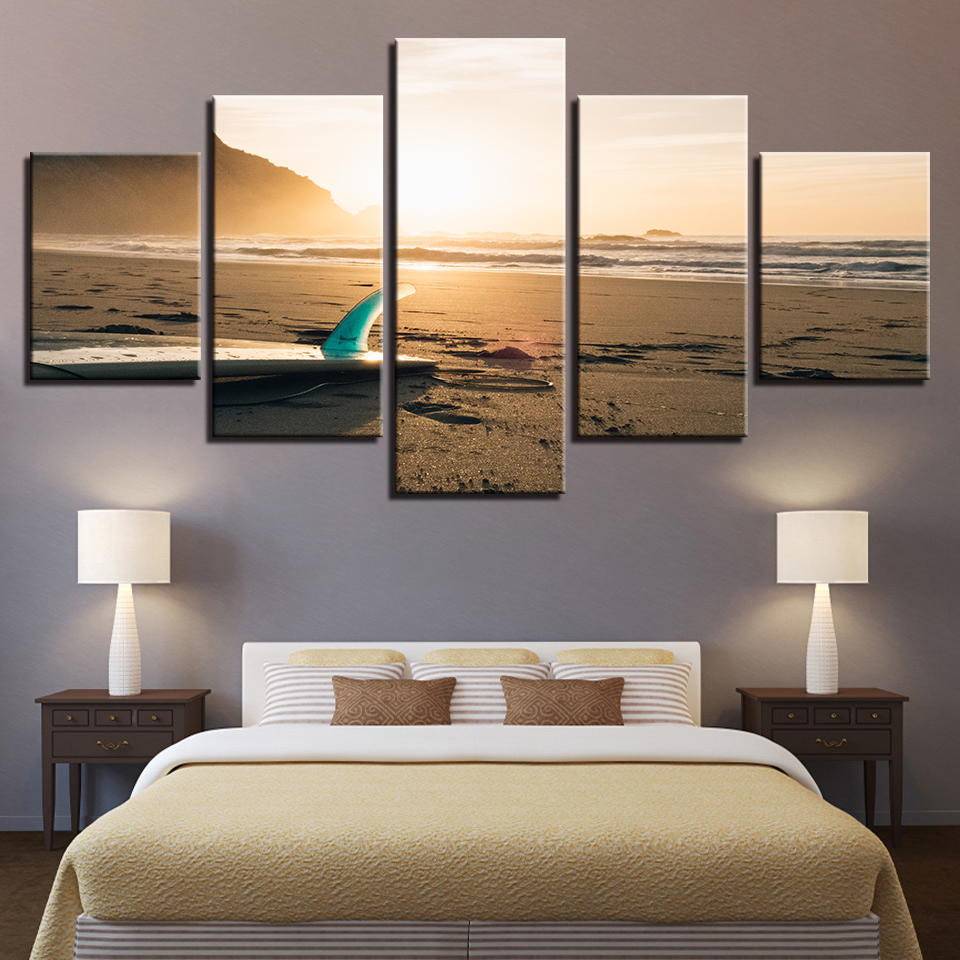 Canvas HD Prints Pictures Home Decor Framework 5 Pieces Sunshine Beach Surf Board Seascape Paintings Living Room Wall Art Poster