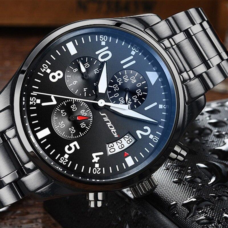 SINOBI New Men Wrist Watch Waterproof 100 Meters Black Steel Clock Luxury Business Sport Water Resistant 10 Bar Men Quartz Watch